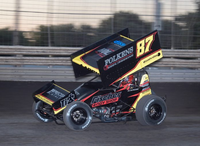 Aaron Reutzel won for the second time this season at Knoxville Raceway on Saturday. (Ken Berry photo)
