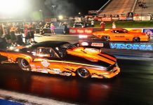 Jay Cox (far lane) defeated Jim Halsey in the Pro Nitrous final at Virginia Motorsports Park. (Roger Richards photo)
