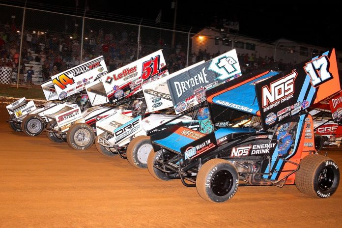 The four-wide parade lap prior to Thursday's World of Outlaws Gettysburg Clash at Lincoln Speedway. (Dan Demarco photo)