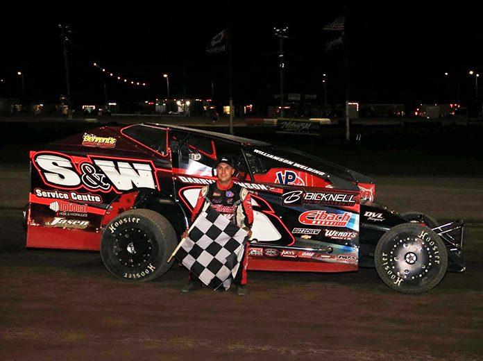 Mat Williamson in victory lane at Merrittville Speedway. (Nitroman Media photo)