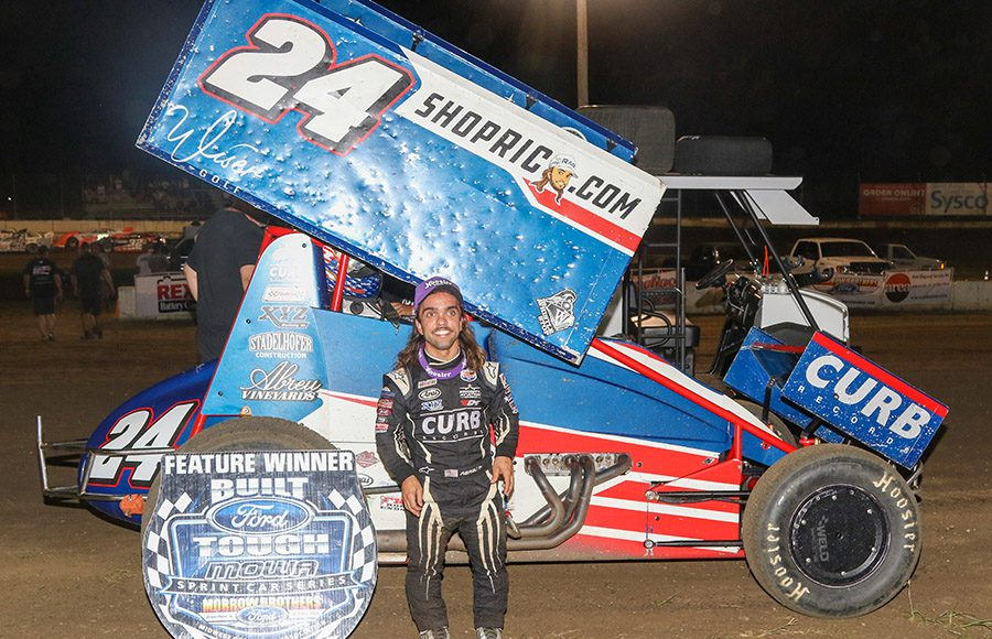 Rico Abreu poses in victory lane after winning Friday's Morrow Brothers Ford MOWA Sprint Car Series event at Jacksonville Speedway. (Brendon Bauman Photo)