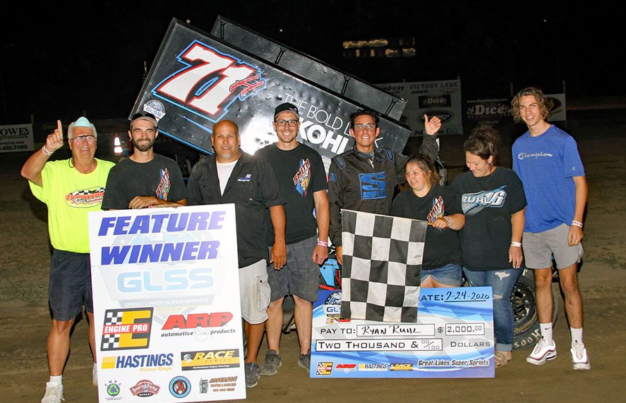 Ryan Ruhl poses in victory lane after winning Friday's Great Lakes Super Sprint event at I-96 Speedway. (Jim Denhamer Photo)