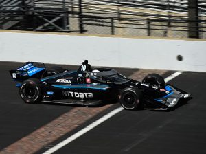 Jimmie Johnson on track during Tuesday's Indy car test at Indianapolis Motor Speedway. (IndyCar Photo)
