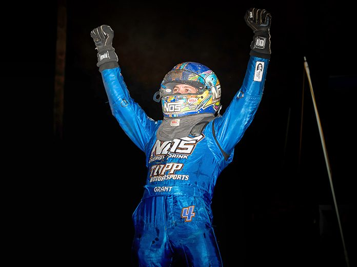 Justin Grant celebrates after winning Wednesday's Indiana Sprint Week feature at the Terre Haute Action Track. (Eli Kaikko Photo)