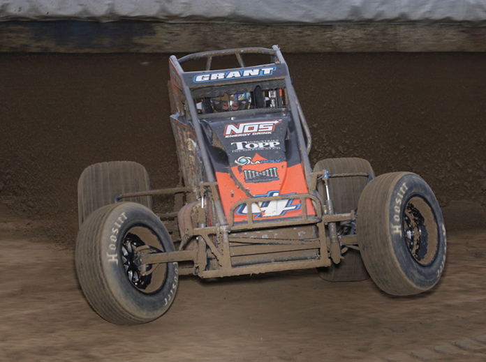 Justin Grant in action Wednesday's at the Terre Haute Action Track. (Neil Cavanah Photo)