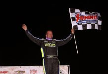 Brian Shirley celebrates after winning Wednesday's DIRTcar Summer Nationals feature at LaSalle Speedway. (Jim Denhamer Photo)