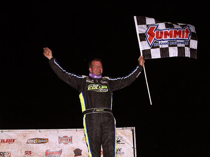 Brian Shirley celebrates after winning Wednesday's DIRTcar Summer Nationals feature at LaSalle Speedway. (Jim Denhamer Photo)