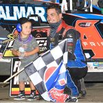 Stewart Friesen in victory lane Wednesday at Bridgeport Motorsports Park. (Quinten Young Photo)