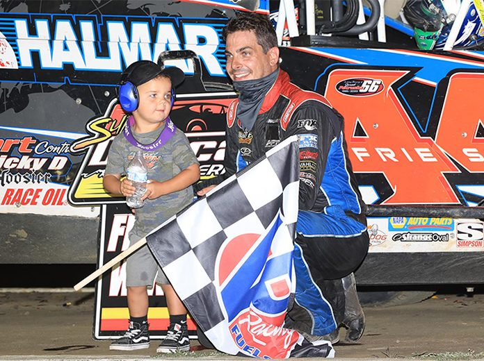 Stewart Friesen in victory lane Wednesday at Bridgeport Motorsports Park. (Quinten Young Photo)