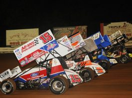 The four-wide parade lap prior to Saturday's Champion Racing Oil Summer Nationals finale at Williams Grove Speedway. (Julia Johnson photo)