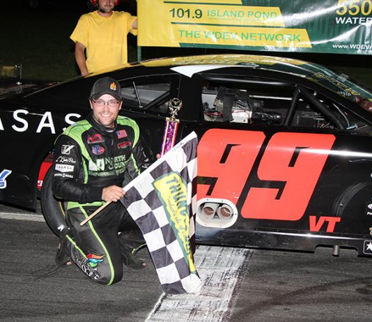 Cody Blake avoided a major crash on his way to the Maplewood/Irving Oil Late Model victory on WDEV/Calkins Night. (Alan Ward photo)
