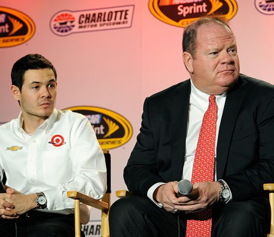 Chip Ganassi (right), seen here with Kyle Larson in 2015, is happy to see Larson winning races after the two parted ways earlier this year. (Jared C. Tilton/NASCAR via Getty Images Photo)