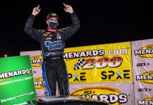 Sam Mayer registered his first ARCA Menards Series victory Friday at Toledo Speedway. (Nic Antaya/ARCA Racing Photo)