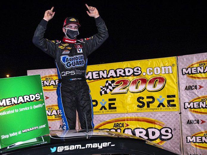 Sam Mayer registered his first ARCA Menards Series victory Friday at Toledo Speedway. (Nic Antaya/ARCA Racing Photo)