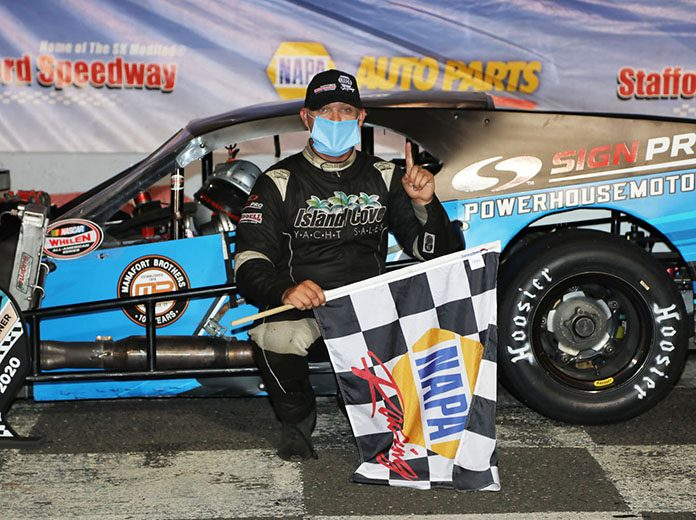 Cory DiMatteo in victory lane Friday at Stafford Motor Speedway.