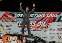 Darron Fuqua celebrates his Pitts Homes USRA Modified feature win Saturday night at Lucas Oil Speedway. (GS Stanek Racing Photography)