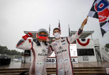 Helio Castroneves and Ricky Taylor reigned in the rain Sunday at Road America. (IMSA photo)