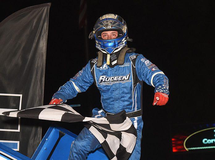 Cory Eliason celebrates his $20,000 victory Sunday at Huset's Speedway. (Paul Arch Photo)