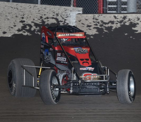 Kyle Cummins captured Sunday's Indiana Sprint Week finale at Tri-State Speedway. (Neil Cavanah Photo)