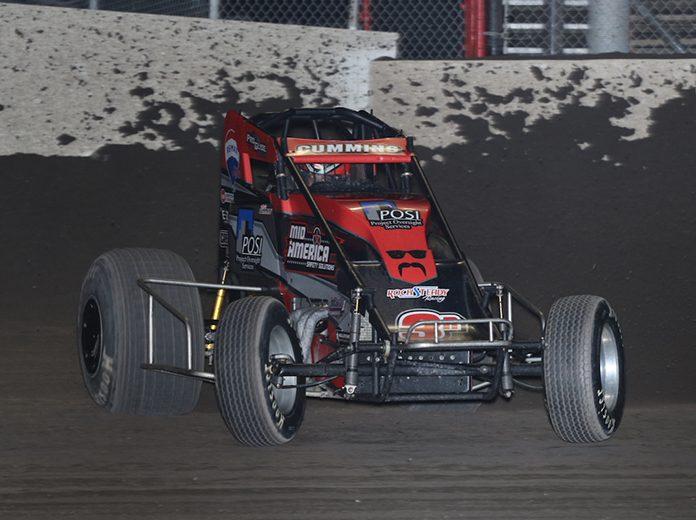 Kyle Cummins captured Sunday's Indiana Sprint Week finale at Tri-State Speedway. (Neil Cavanah Photo)