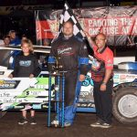 Cory Yeigh in victory lane Sunday at Huset's Speedway. (Paul Arch Photo)