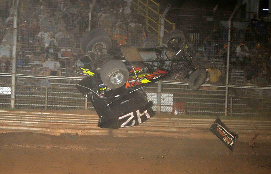 Sye Lynch went for a wild ride Saturday night at Lernerville Speedway. (Jim Balentine Photo)