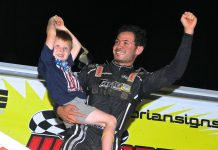 Kyle Larson victory lane (Dan Demarco Photo)