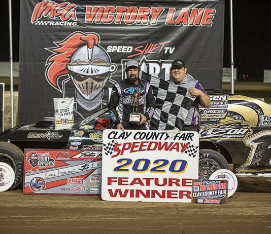 Chris Abelson raced to his seventh career Speed Shift TV Dirt Knights Tour IMCA Modified victory Monday night at Clay County Fair Speedway. (Jim Steffens Photo)