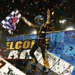 Kyle Larson in victory lane at Knoxville Raceway. (Trent Gower Photo)