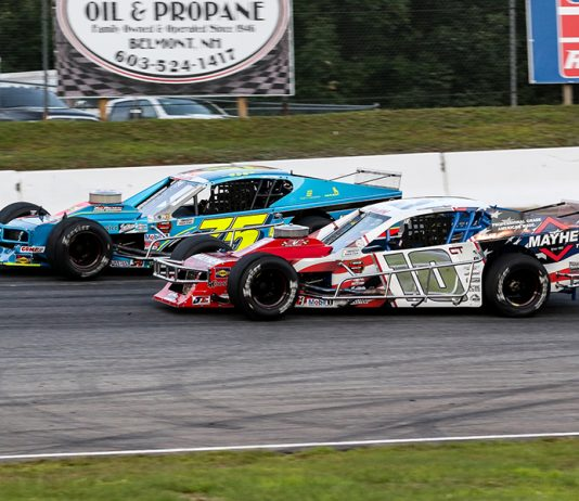 Doug Coby (10) races to the inside of Chris Pasteryak during Saturday's NASCAR Whelen Modified Tour event at White Mountain Motorsports Park. (Dick Ayers Photo)