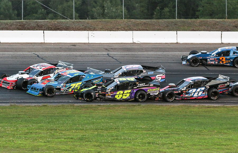 Multiple drivers make contact during Saturday's NASCAR Whelen Modified Tour event at White Mountain Motorsports Park. (Dick Ayers Photo)