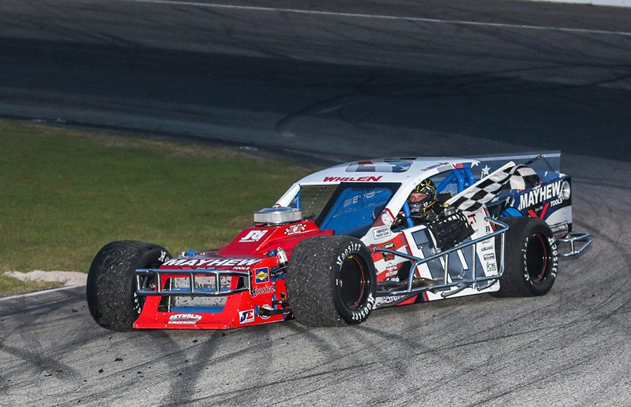 Doug Coby celebrates after winning Saturday's NASCAR Whelen Modified Tour event at White Mountain Motorsports Park. (Dick Ayers Photo)