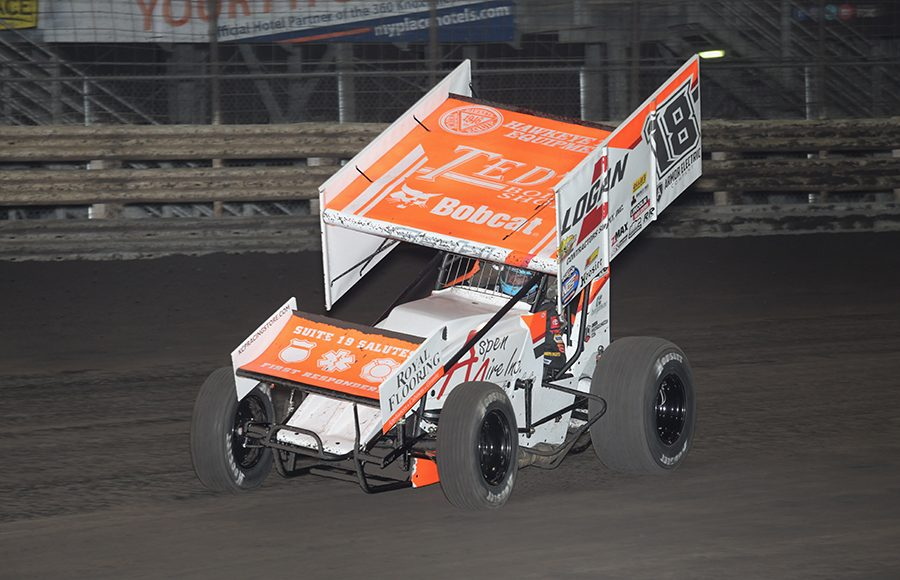 Gio Scelzi in action Saturday at Knoxville Raceway. (Ken Berry Photo)