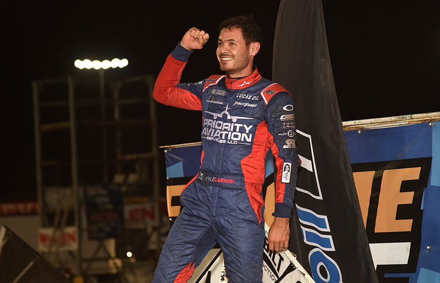 Kyle Larson celebrates in victory lane after winning Saturday's Ollie's Bargain Outlet All Star Circuit of Champions event at Knoxville Raceway. (Paul Arch Photo)