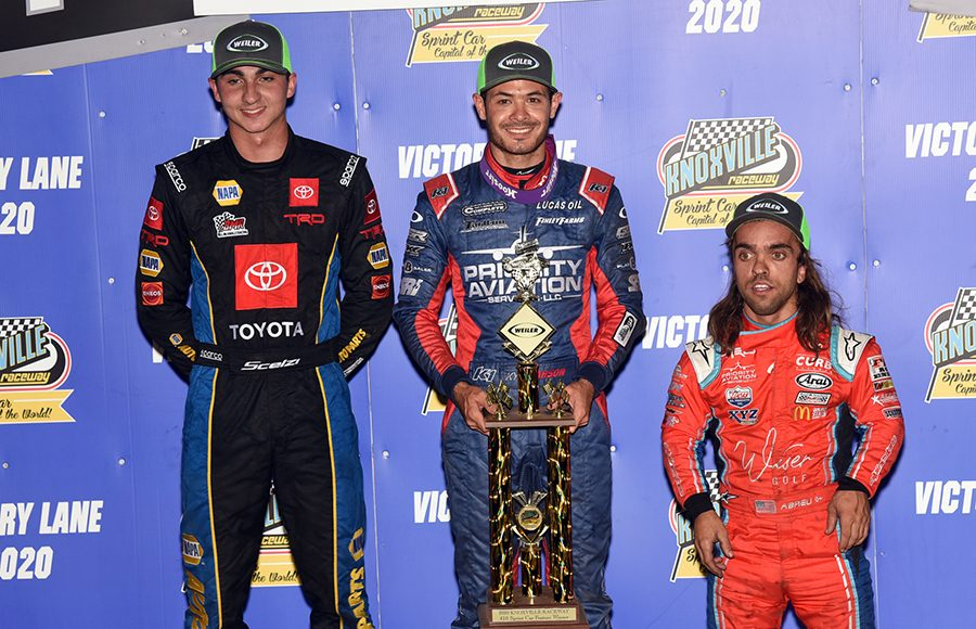 Kyle Larson (center) outran Gio Scelzi (left) and Rico Abreu (right) to win Saturday's Ollie's Bargain Outlet All Star Circuit of Champions event at Knoxville Raceway. (Paul Arch Photo)