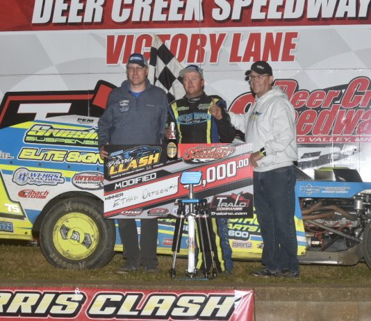 Ethan Dotson in victory lane. (Buck Monson photo)