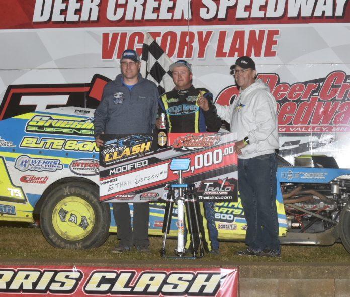 Ethan Dotson in victory lane. (Buck Monson photo)