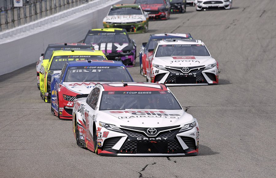 Erik Jones (20) leads a pack of cars during Sunday's NASCAR Cup Series event at New Hampshire Motor Speedway. (HHP/Alan Marler Photo)