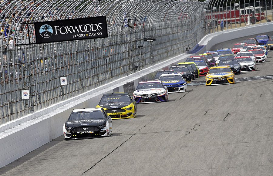 Aric Almirola (10) leads the field during Sunday's NASCAR Cup Series race at New Hampshire Motor Speedway. (HHP/Alan Marler Photo)