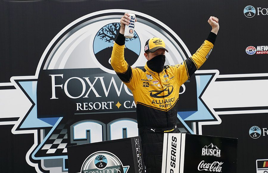 Brad Keselowski celebrates in victory lane after winning Sunday's NASCAR Cup Series event at New Hampshire Motor Speedway. (HHP/Andrew Coppley Photo)