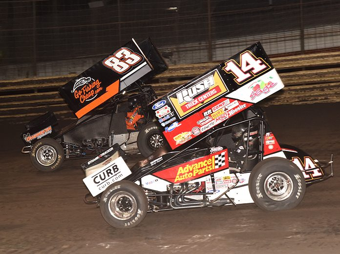Tim Shaffer (14), shown here last weekend in 360 action at Knoxville Raceway battling Lynton Jeffrey, will be in action Thursday during the 360 Knoxville Nationals. (Paul Arch Photo)