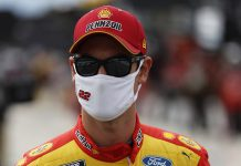 Joey Logano will start from the pole for Saturday's NASCAR Cup Series race at Michigan Int'l Speedway. (HHP/Andrew Coppley Photo)