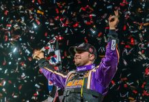 Brandon Overton celebrates after winning Thursday's USA Nationals preliminary feature. (Jacy Norgaard Photo)