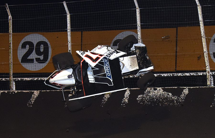 Kyle Larson went for a wild ride during his heat race on Sunday at Huset's Speedway, bringing a swift end to his winning streak with the Ollie's Bargain Outlet All Star Circuit of Champions. (Paul Arch Photo)