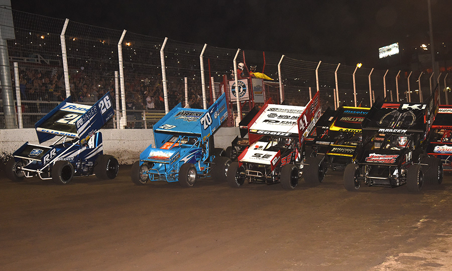 The field for Sunday's Ollie's Bargain Outlet All Star Circuit of Champions event prepares to go racing at Huset's Speedway. (Paul Arch Photo)