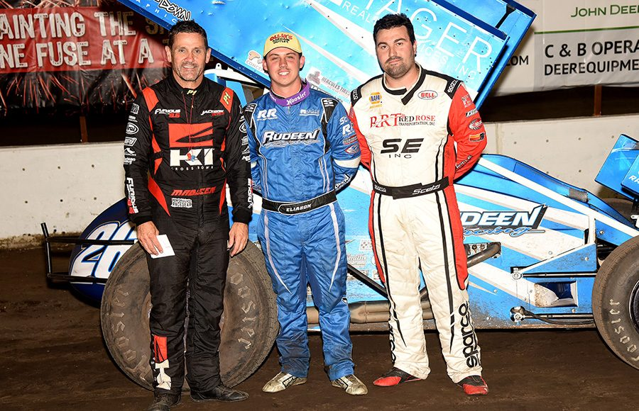 Cory Eliason (center) outran Dominic Scelzi (right) and Kerry Madsen (left) to win Sunday's Ollie's Bargain Outlet All Star Circuit of Champions event at Huset's Speedway. (Paul Arch Photo)