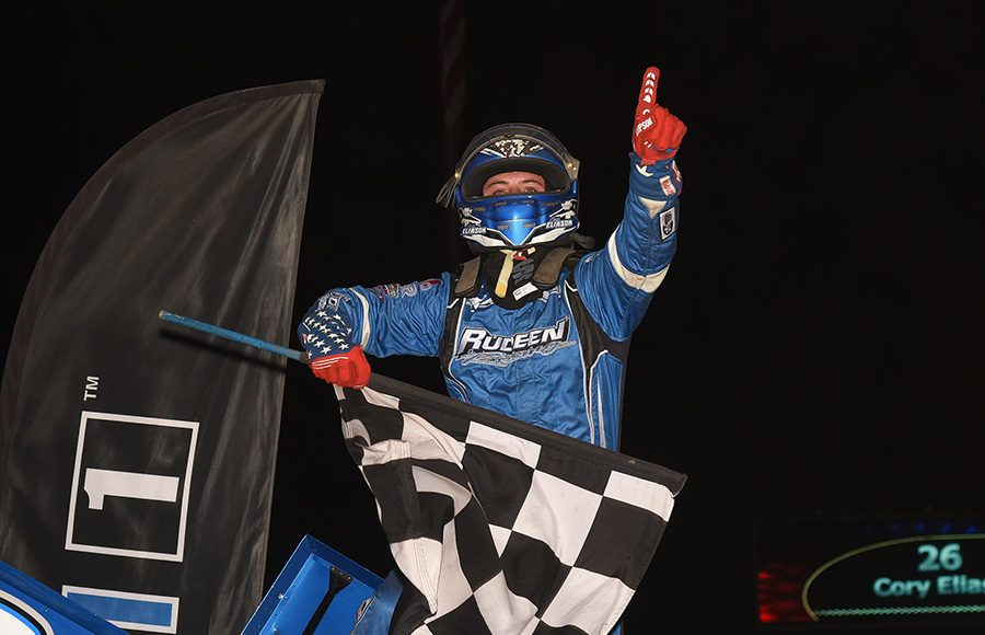 Cory Eliason celebrates in victory lane after winning Sunday's Ollie's Bargain Outlet All Star Circuit of Champions feature at Huset's Speedway. (Paul Arch Photo)