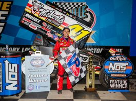 David Gravel in victory lane at Knoxville Raceway. (Trent Gower photo)