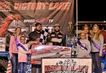 Nick Meyer was joined by fair royalty in victory lane following his Speed Shift TV Dirt Knights Tour for IMCA Modifieds feature win at Kossuth County Speedway. (Icon Images Photo)