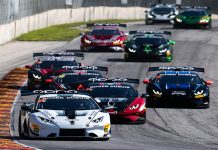 Madison Snow and Bryan Sellers combined to win Friday's opening race of the Lamborghini Super Trofeo North America season. (Jamey Price/IMSA Photo)